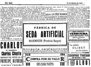 Un anuncio de una antigua fábrica de sedas. Nos lo envía Emilio Silva.