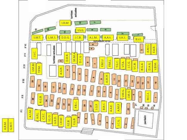 Plano esquemático de la parcela de Instituciones Penitenciarias (cementerio desde 1989), con las 49 identificaciones positivas.