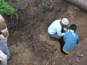 En plena exhumación