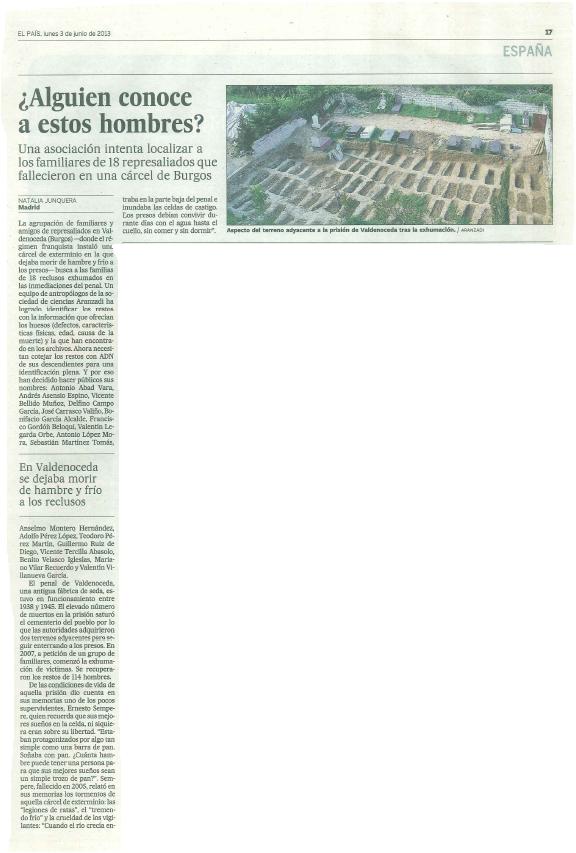 Artículo de El País en su edición en papel