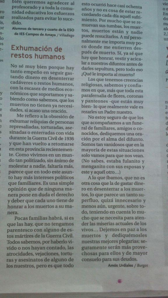 Carta de Amón Urdiales en el Diario de Burgos