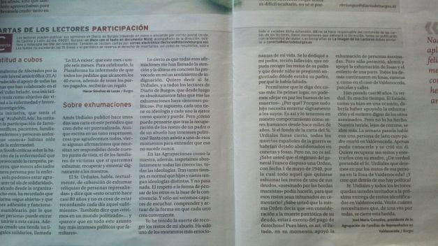 Carta de la Agrupación, publicada por Diario de Burgos, en respuesta a la carta de otro lector, Amós Urdiales