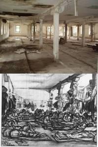 La prisión, en la actualidad (arriba) y cómo era en 1941 (dibujo de Robledano). Sobrecoge