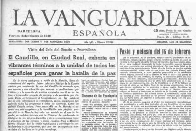 Portada de La Vanguardia del 16 de febrero de 1940