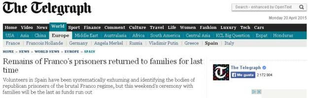 Recorte del Telegraph británico, que el sábado dedicaba un extenso reportaje al acto, con entrevista incluida a la nieta de Celedonio Molina